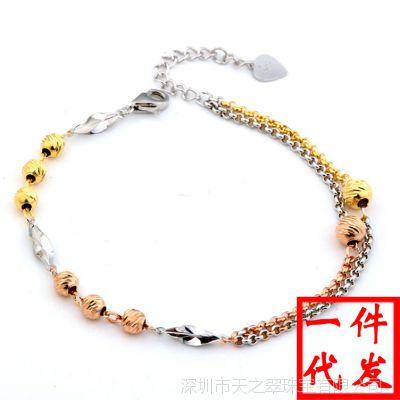 925纯银 手链 女款 圆珠链 韩版正品三色彩金饰品 转运珠彩银手链