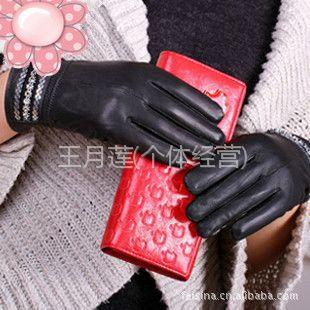 供应韩版秋冬防寒保暖手套 女款绵羊皮手套 女士真皮手套批发