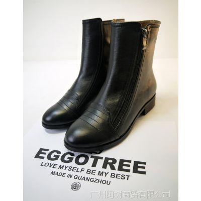 广州工厂直销真皮短靴来图来样订做韩版女靴子出口外贸女鞋加工
