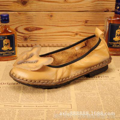 民族风外贸原单休闲女鞋 文艺范森女羊皮真皮擦色手工舒适平底鞋