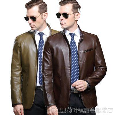 2015秋季新款九牧王男士韩版修身皮衣夹克 男式立领纯色真皮皮衣