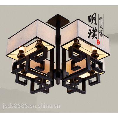 明璞客厅餐厅中式复古吸顶灯 中式吸顶灯别墅书房布艺铁艺吸顶灯厂家批发定制