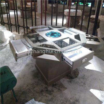 南山区蒸汽海鲜火锅桌 铁艺火锅桌 行一家具批发 简约现代