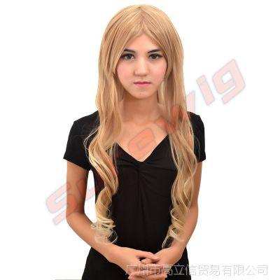 假发逼真长卷时尚流行欧美假发套非主流外金色假发批发(GA2114)