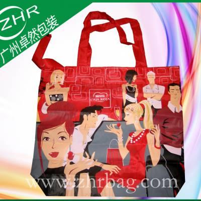 数码印红色牛津布袋 涤纶产品广告礼品袋 拉链织带手提印花色丁布袋