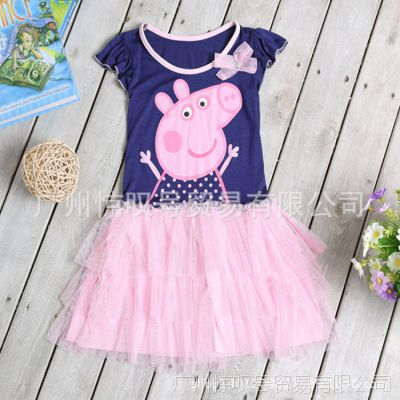 厂家直销 2014夏季童装 Peppa pig/佩佩猪 女童短袖公主连衣裙