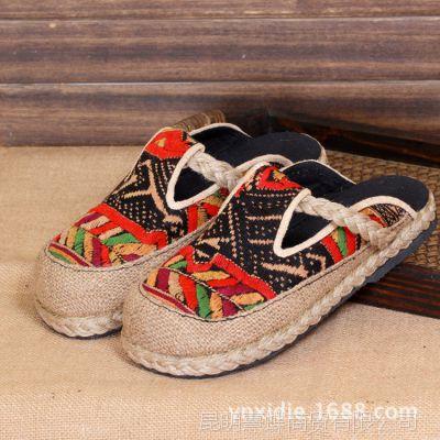 新款 民族风 泰国粗麻中跟十字绣包头女鞋 拖鞋 休闲鞋 拖鞋 情侣