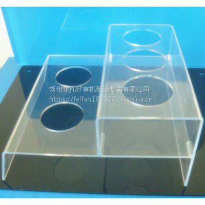 郑州有机玻璃制品定制透明双层五孔亚克力饮料陈列架 郑州亚克力饮料展示架