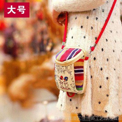 民族风包包女士帆布零钱包女包斜跨手机包女式小包新款迷你时尚