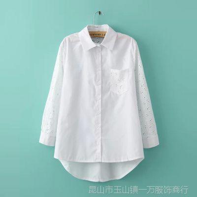 2015春夏新款女装绣花蕾丝镂空拼接纯棉宽松中长款打底白色衬衫女