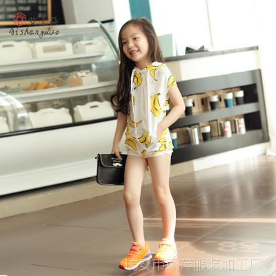 皮皮猪女童套装2015夏装新款韩版儿童香蕉印花短袖T恤+短裤两件套