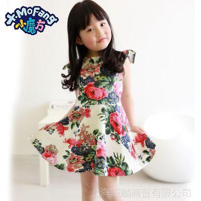 夏季新款韩版女孩小飞袖连衣裙宝宝可爱全棉公主裙子 女童连衣裙