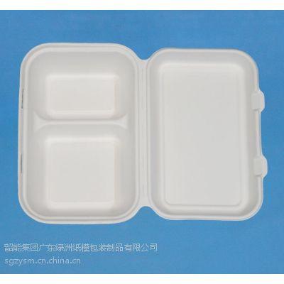 供应绿洲甘蔗渣竹浆环保全降解一次性2格快餐盒打包盒锁盒1000ml2格饭盒