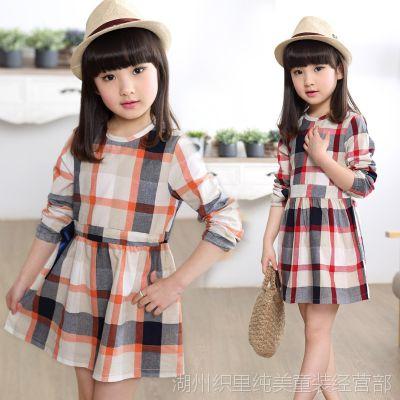 童装女童 2015夏季新款韩版中大女童格子拼接连衣裙 女孩外穿裙子
