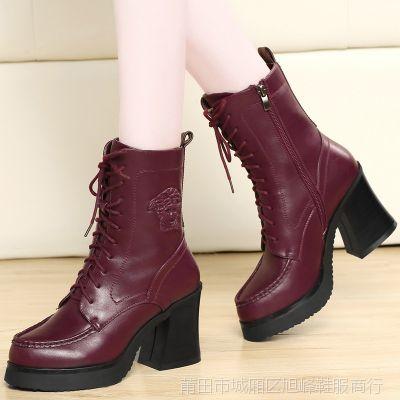 2014冬季新款女鞋时尚马丁靴英伦风女靴粗跟中筒靴棉靴 盾狐612