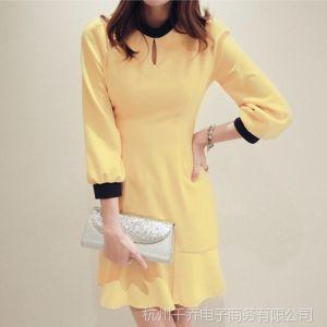 供应免费代理女装一件代发2014新品春装韩版立领七分袖春季连衣裙气质