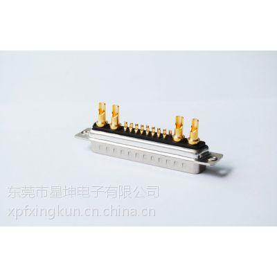 D-SUB 14W4大电流插座连接器 D-SUB焊接式防火14W4公头