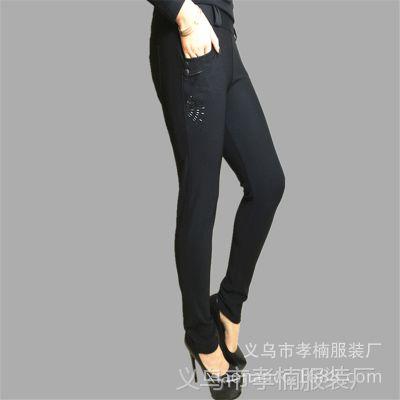 春季中老年妈妈裤 大码女装女裤子黑色高腰弹力打底裤 厂家批发