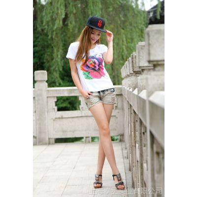 【厂家直销】夏季新款全棉数码直喷成衣女式短袖T恤上海青浦