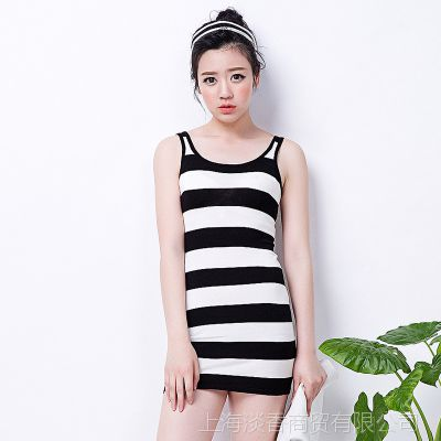 女装黑白条纹连衣裙纯棉吊带裙弹力紧身打底裙日本原单新1225