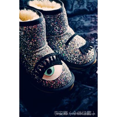 CH1@R@ FERR@GN1国限版特殊亮片鞋面~澳洲羊毛防滑底雪地靴女童靴