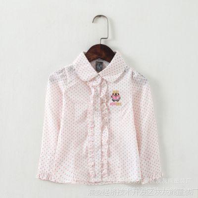 外贸童装 韩版女童长袖衬衣 圆点卡通小熊印花 中小童长袖衬衫