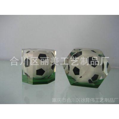 丽美  厂家直销摆饰透明八角足球水晶纸镇