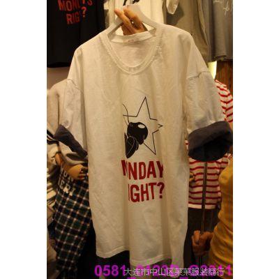 韩国女装代购 东大门进口批发 2015春款圆领字母卡通短袖个性T恤