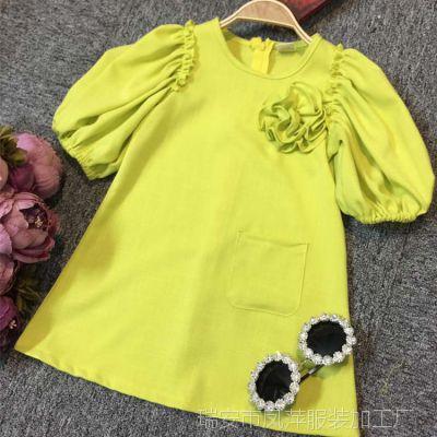 女童夏装新款裙子童装儿童麻布短袖女童连衣裙夏中小童女孩公主裙