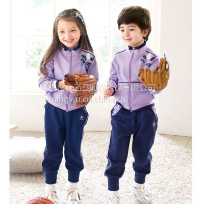 惠州私立中小学生校服秋冬新款纯棉运动套装专业生产定制厂家数量大小都能做