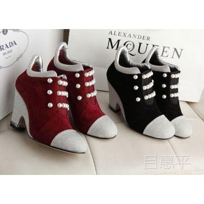 2014秋款优雅珍珠真皮女鞋羊皮金丝绒中跟高跟坡跟短靴女靴子踝靴