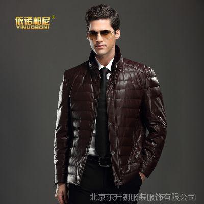 厂家直销2015男式短款pu皮羽绒服兔毛领男士修身皮衣羽绒外套冬季
