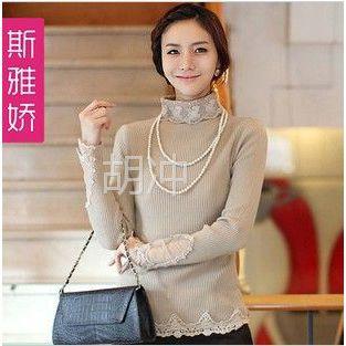 供应6058#2012秋装新品女装大码上衣韩版长款长袖修身高领蕾丝打底衫