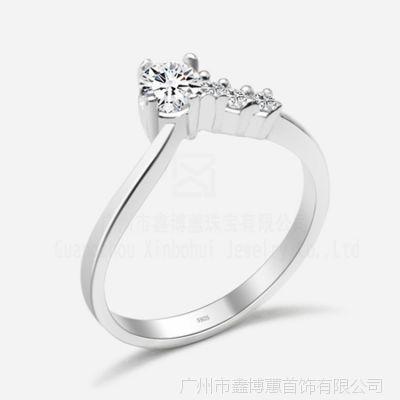 广州首饰厂家 925银锆石戒指 珠宝定制