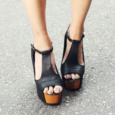 欧美2015新款鱼嘴鞋防水台真皮高跟鞋实木粗跟夜店韩版罗马女凉鞋
