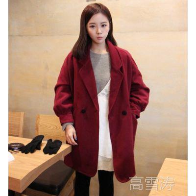 韩国冬装新款学院风灯笼袖宽松呢子大衣毛呢外套女 2839
