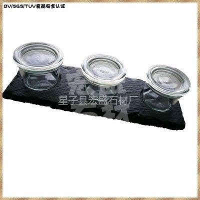 供应实用家居 餐厅储食用品 板岩石板餐盘搭配加盖玻璃器皿