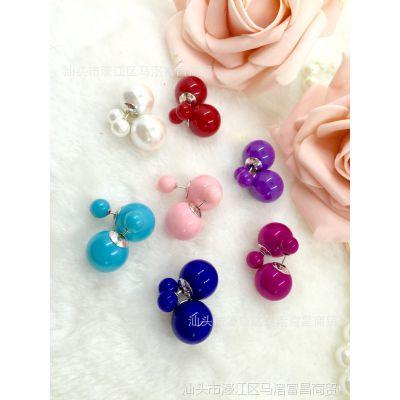 2015新款华丽高雅珍珠耳钉纯银镀金耳针镶珍珠百搭多色选择
