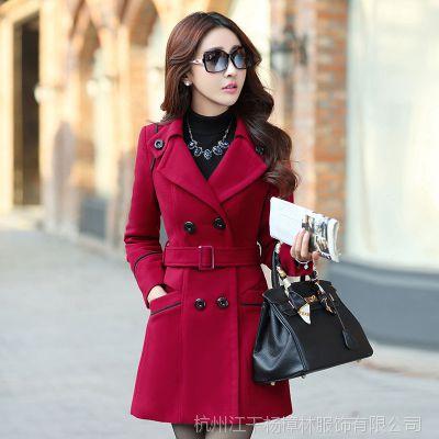 秋冬新款外套 毛呢外套 女式韩版修身中长款呢大衣 大码外套女