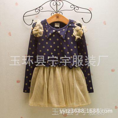 2015春,韩国童装,水玉波点女童雪纺公主连衣裙1.16