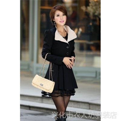 E8 外贸原单 2014韩版秋季新款女装长袖蕾丝拼接风衣外套 女大衣