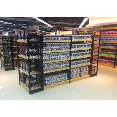 大沣DF-024铁木结合精品超市货架啤酒展示柜
