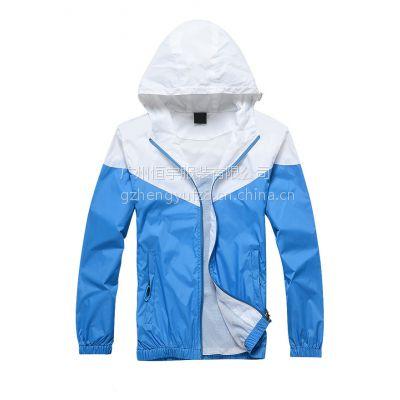 供应白拼蓝 订做风衣 加帽风衣订做 风衣促销服 双层防风防水订做
