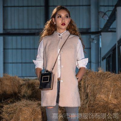 定做欧美冬季新款大牌女装 皮毛一体羊剪绒中长背心马甲皮草外套