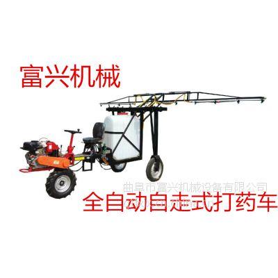 河北省优质小麦打药机批发 富兴新型柴油8马力三轮车式打药机厂家图片