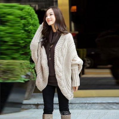 2014新款春秋英伦蝙蝠衫披肩外套针织开衫大码中长款毛衣女装