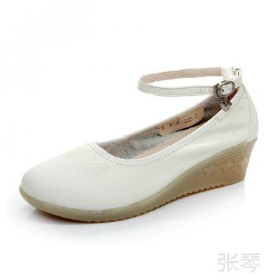白色坡跟护士鞋真皮女鞋牛筋防滑工作鞋软底蕴舒适女式单鞋休闲鞋