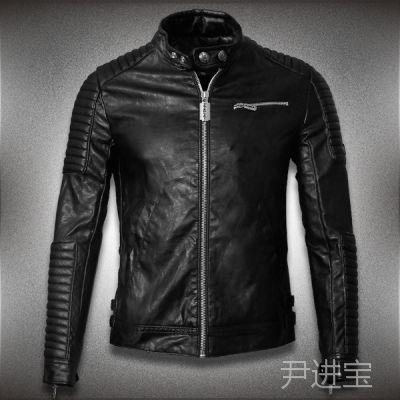 【2015新款】欧美大牌朋克风男式皮夹克外套机车修身男士皮衣450
