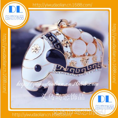 新款义乌高档精品水晶大象赠品合金镶钻汽车钥匙扣饰品挂件B0585