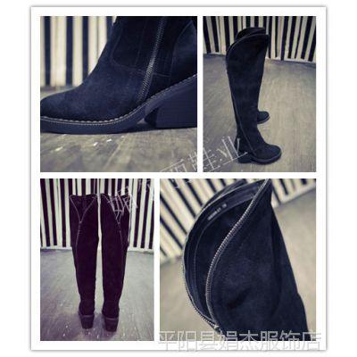 2014新款女鞋磨砂牛皮高跟鞋后侧拉链单鞋真皮单靴单鞋一件代发